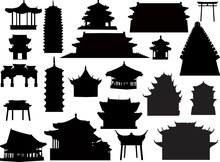 Twenty One Isolated On White Pagoda Silhouettes