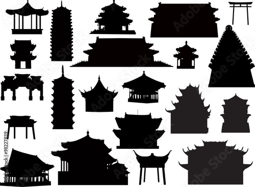 Vászonkép twenty one isolated on white pagoda silhouettes
