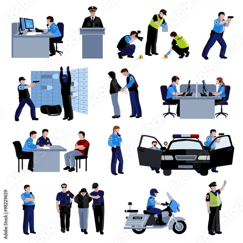 Fotografie, Obraz  Policeman People Flat Color Icons