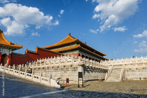 In de dag Peking The ancient royal palaces of the Forbidden City in Beijing, China