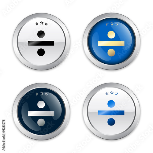 Photo  Division seals or icons. Glossy silver seals or buttons.
