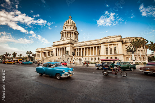 HAVANA, CUBA - JUNE 7, 2011: Old classic American car rides in f Canvas Print