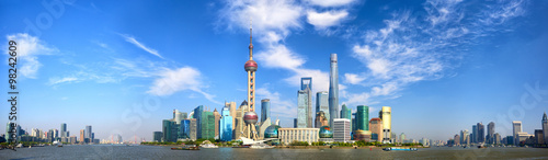 Spoed Foto op Canvas Shanghai Shanghai Pudong skyline panorama, China
