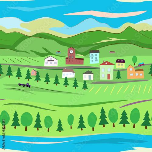 Poster Lime groen Landscape seamless texture