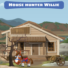 Wooden Old House Of The Hunter And His Horse
