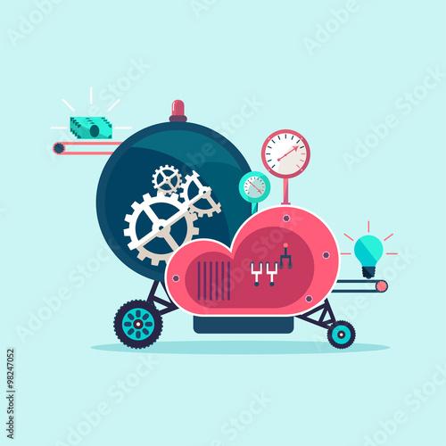 Fotografia Startup machine.Conceptual illustration.