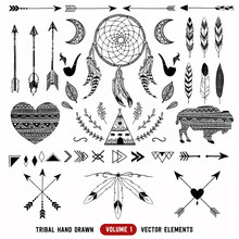 Hand Drawn Vector Tribal Elements. Aztec Logos And Badges.