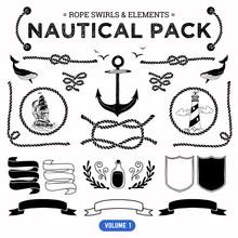 Vector Pack Of Nautical Elemen...