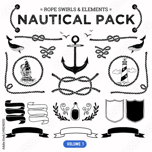 Fotografía  Vector pack of nautical elements. Rope swirls, logos and badges.