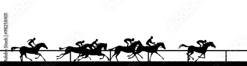 Cuadros en Lienzo  horse racing silhouette