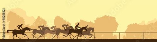 Fototapeta horse racing silhouette obraz