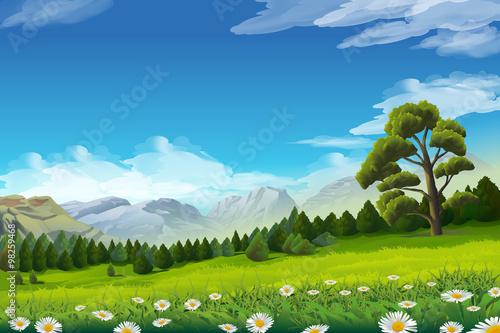 Papiers peints Vert chaux Spring landscape, vector background