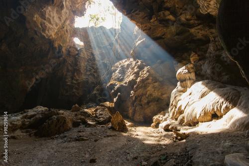 Sun beam in cave at Khao Luang, Phetchaburi Province, Thailand