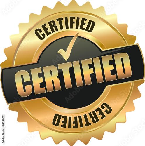 Obraz na plátně golden shiny vintage certified 3D vector icon seal sign button shield star with
