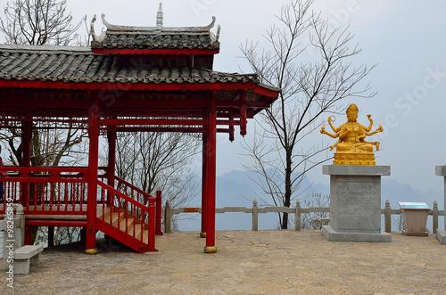 Poster Temple Guilin Yaoshan Mountain, China..