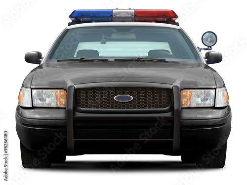 Police ford crown victoria front view isolated on white background Wallpaper Mural