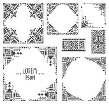 Set Of Five Borders With Tribal Art Boho Hand Drawn Patterns