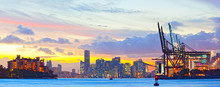 Sunset Panorama Of Miami Port,...