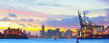 Sunset Panorama Of Miami Port,...