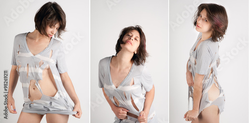 Fotografía Triptych of Woman Ripping Her Top