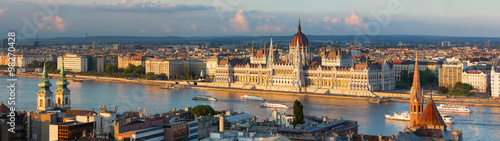Budapest parliament in the sunset lights Canvas Print