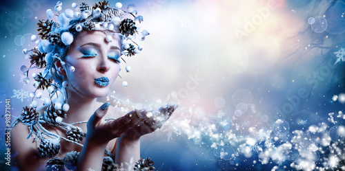 Fototapety, obrazy: Winter Wish - Model Fashion Blowing Snowflakes