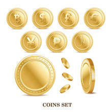 Set Of The Currency Golden Iso...