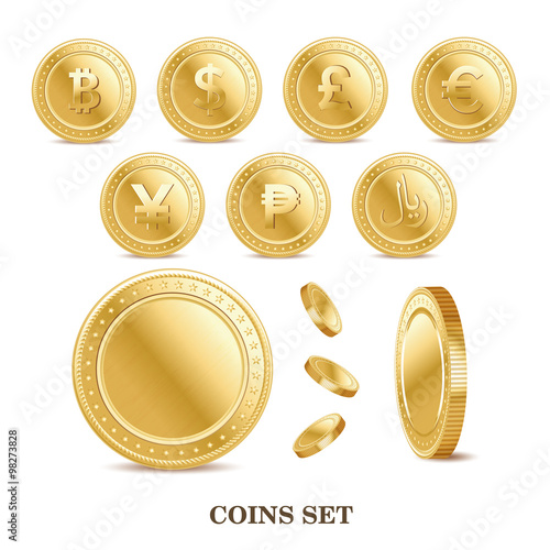 Cuadros en Lienzo set of the currency golden isolated finance coin icons