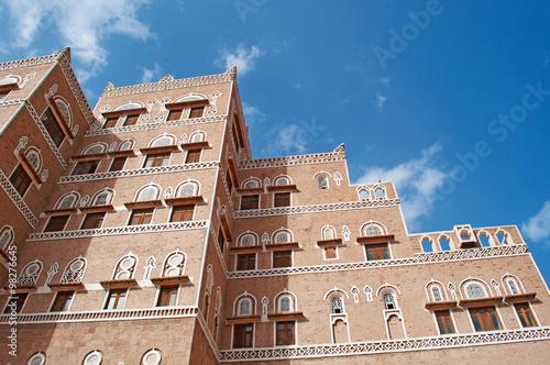 La città vecchia di Sana'a, casa decorata, palazzo, Yemen Slika na platnu