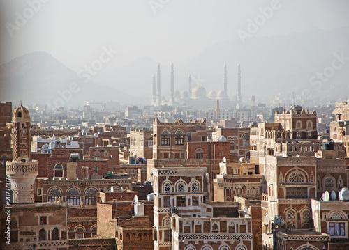 Fotografia, Obraz  La città vecchia di Sana'a, case decorate, palazzi, minareti, la moschea Saleh n