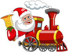 Cartoon Santa Claus Driving Steam Locomotive And Ringing Bell Isolated Xmas