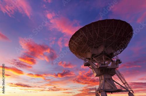 Radio Telescope at Sunset