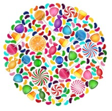 Colorful Candy Background With...