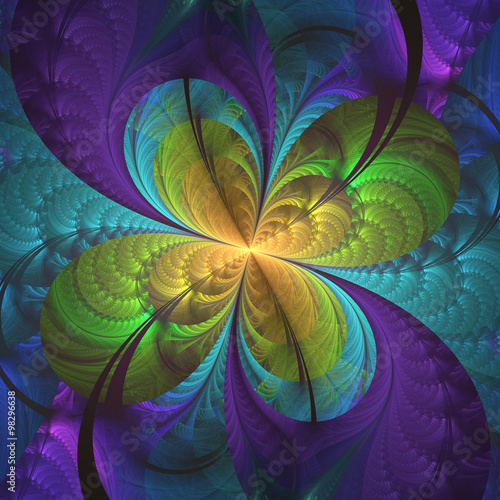 Poster Psychedelic Abstract floral shapes