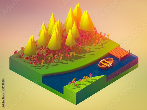 Fotobehang Geel isometric nature and landscape