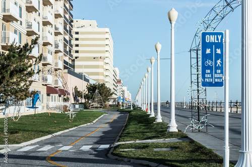 Bike Path Sign At The Virginia Beach Oceanfront Boardwalk