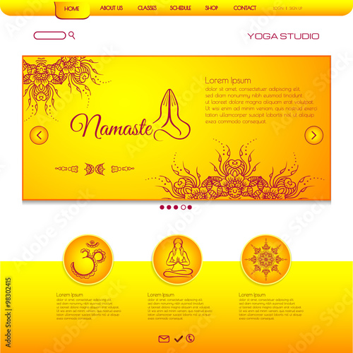 Website Template Yoga Card With Floral Henna Mehndi Design Om Aim - Business card website template