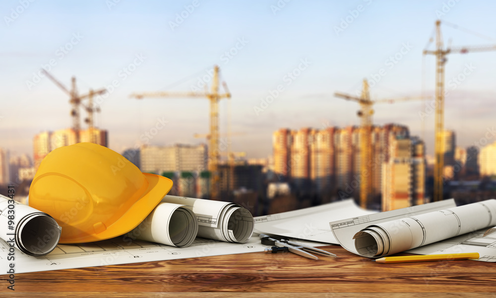 Fototapeta Concept of construction and design. 3d render of blueprints and