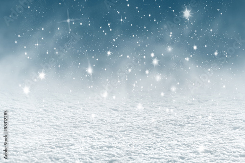 Winter christmas background with shiny snow and blizzard Wallpaper Mural