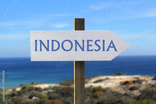 Foto op Plexiglas Indonesië Indonesia sign with seaside in the background