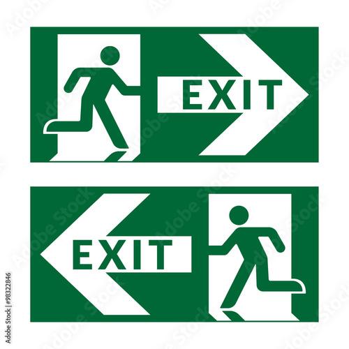 Exit Sign Emergency Fire Exit Door And Exit Door Green Icon On