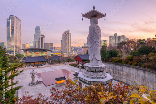 Printed kitchen splashbacks Purple Sunset at Bongeunsa temple of downtown skyline in Seoul City, So