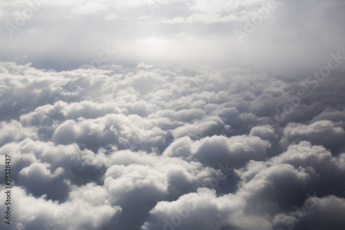 Tuinposter Hemel Fluffy storm clouds, aerial photography.
