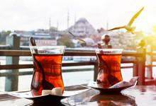 Turkish Tea Cup On The Backgro...