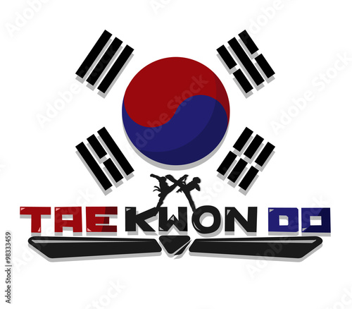 Photo Create Taekwondo text graphic with flag Korea Background