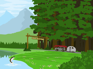 Vector illustration of an SUV pulling a camper in to a mountain camp ground driving past a trout jumping out of the water.