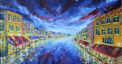 obraz-olejny-pejzaz-nocny-miasta