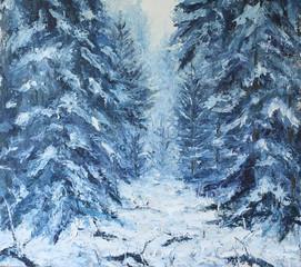 Fototapeta Zima forest winter landscape, oil painting