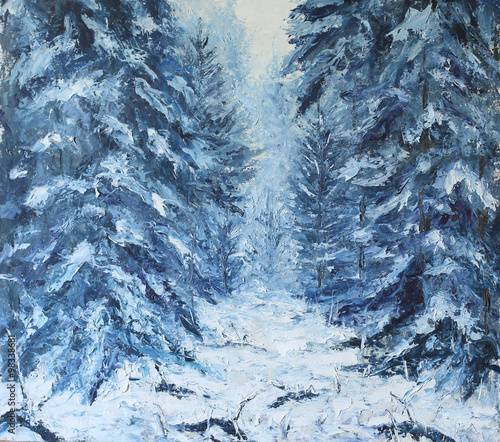 forest winter landscape, oil painting - 98338681