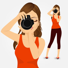 Young Photographer Woman Taking Photos